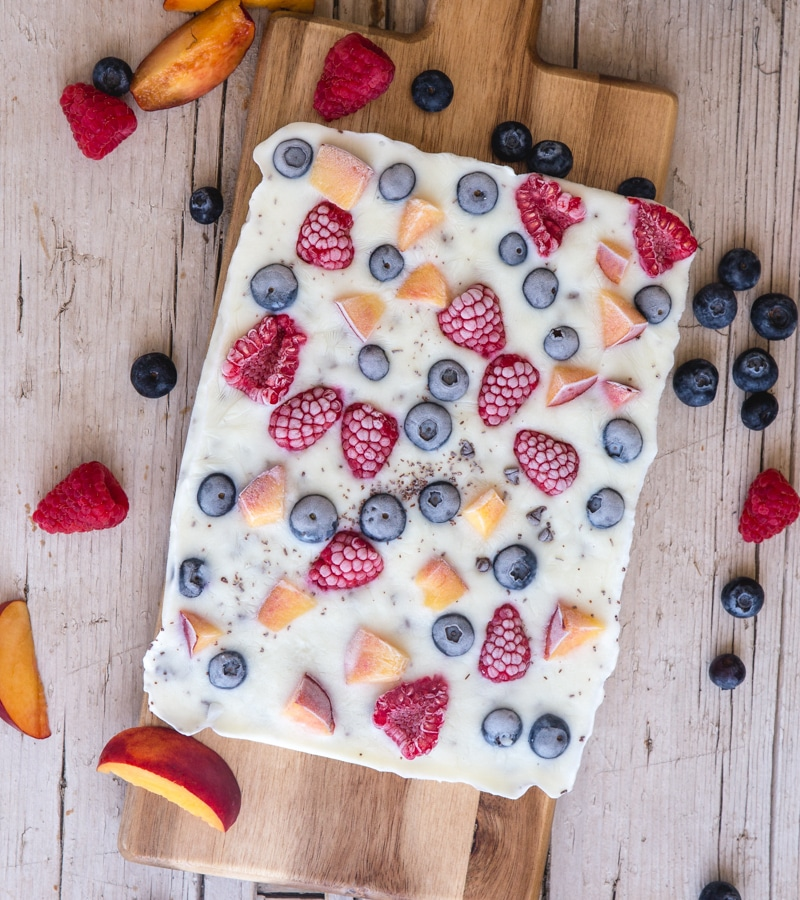 yogurt bark on a wooden board