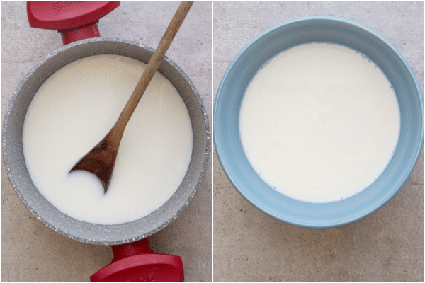 how to make fior di latte milk and sugar in a pot and ready for refrigerating