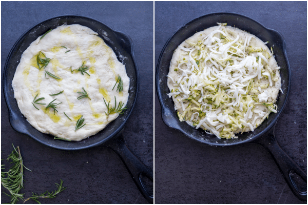 how to make focaccia dough in the pan with rosemary and zucchini and cheese