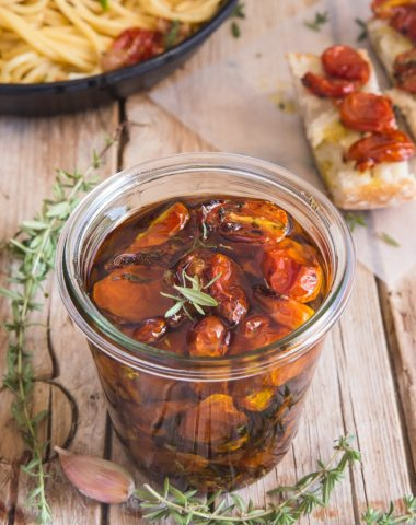 roasted tomatoes in a jar with oil, toss with pasta in a pan on on a slice of bread