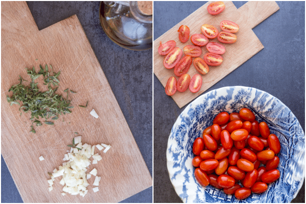 how to make roasted tomatoes, sliced and chopped spices
