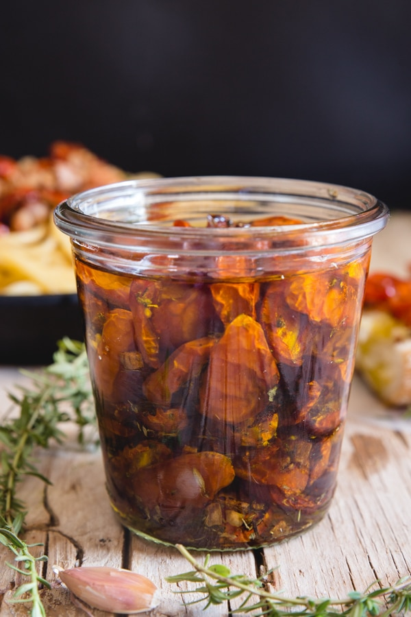 roasted tomatoes in oil in a jar