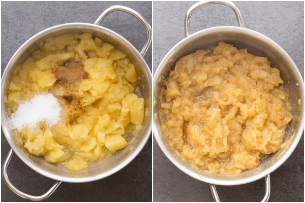 homemade applesauce in the pot with the cinnamon and sugar and then cooked