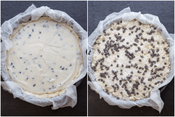 ricotta cake filling on the base and adding the crumb mixture and chips on top
