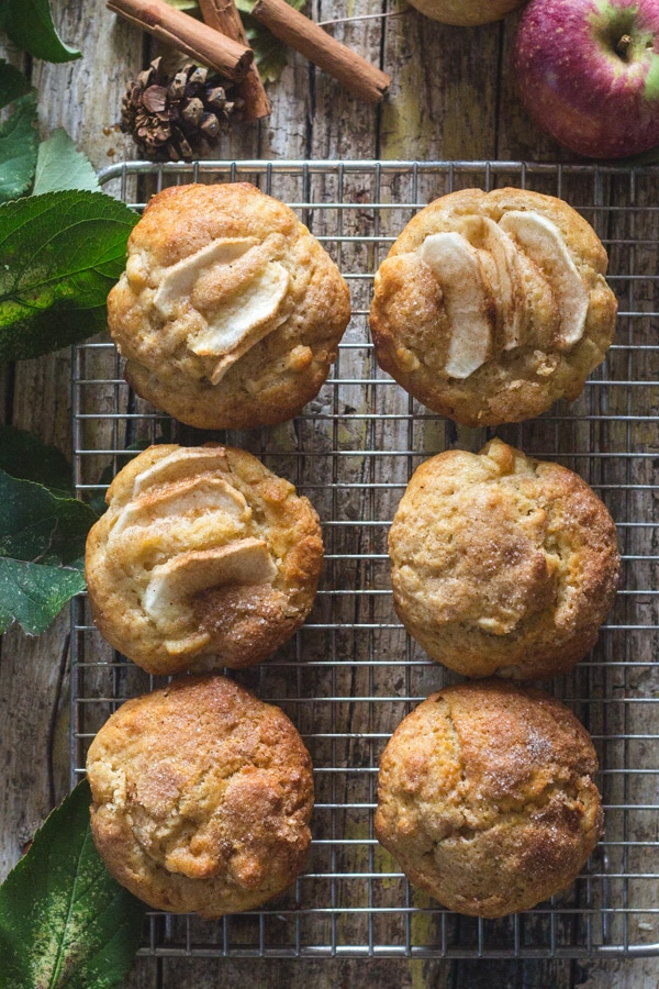 apple muffins on a wire rack