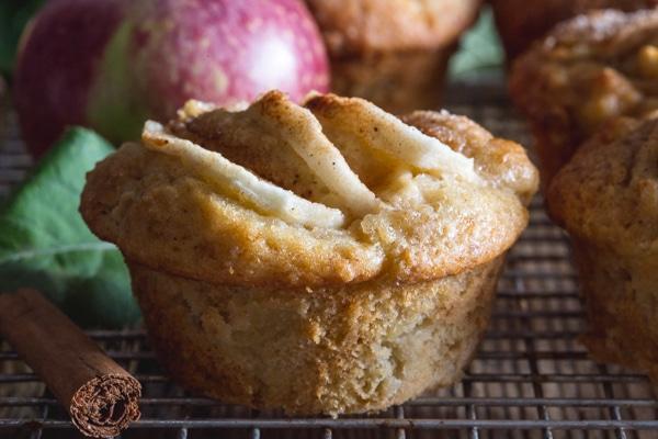 up close apple muffin