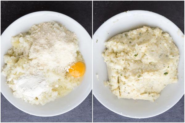 mix mashed potato & cauliflower with parmesan, egg, spices & flour in a white bowl