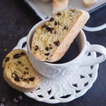 Traditional Italian Biscotti these double baked crunchy cookies full of chocolae chips are the perfect dipping cookie, for Breakfast or Snack.