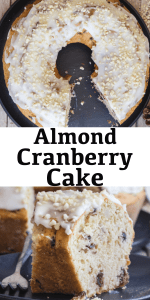 This Almond Cranberry Cake is the perfect Christmas Breakfast or even dessert cake. A soft moist cake made with cranberries and almonds and drizzled with an easy vanilla or maple glaze. #cranberrycake #Christmascake #cranberryloaf #cranberrybread #Christmasdessert