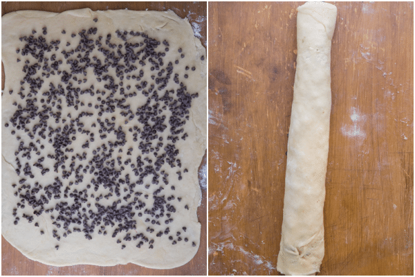 roll the dough into a rectangle, sprinkle with chocolate chips then roll up lengthwise