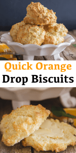 These easy Orange Drop Biscuits can be mixed, baked & on the table in 30 minutes. The addition of orange makes them perfect for Breakfast or even snack. #biscuits #dropbiscuits #orangebiscuits #snack #breakfast