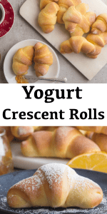 These Homemade Crescent Rolls are made with orange zest and yogurt. The perfect breakfast or snack recipe for any day of the week. #crescentrolls #brioche #yeastrolls #croissants #orangecroissant #sweetrolls