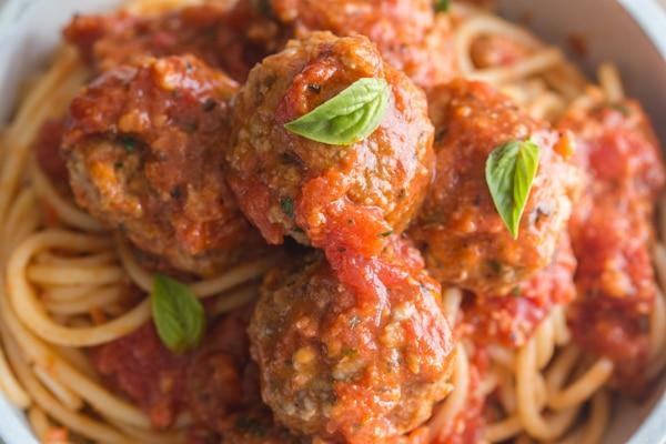 meatballs on a bowl of spaghetti
