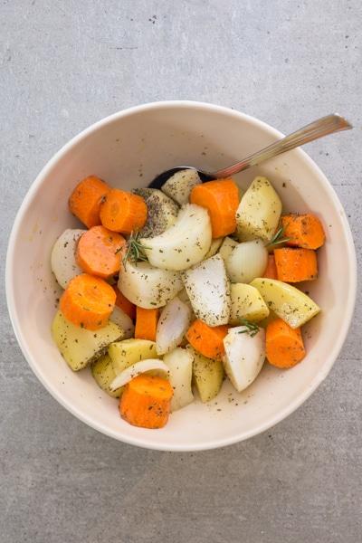 veggies cut in a white bowl