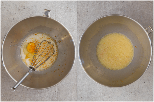 the yeast mixture with eggs , oil and sugar in the mixing bowl, the ingredients whisked together in the mixing bowl