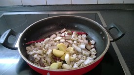 The masala being sautéed before grinding. I used fresh coconut, not desiccated coconut, as there is a big difference in taste