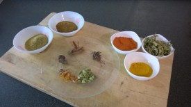The spices to be added