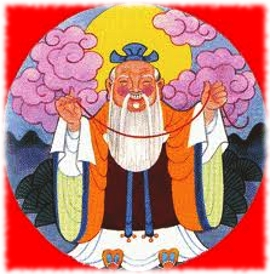A painting of the Old Man Under The Moon holding the red string of fate and smiling.