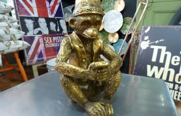 Gold Sitting Monkey