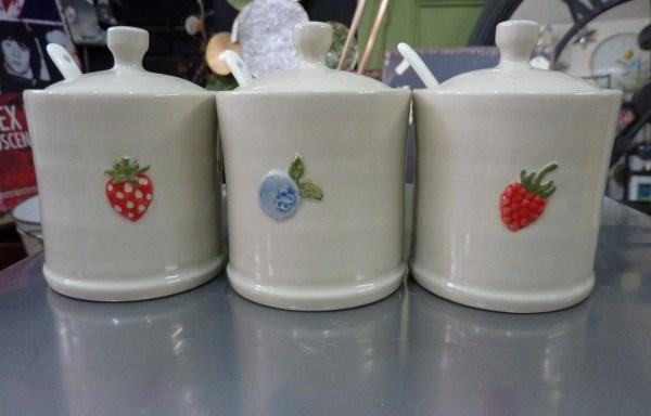 Set Of 3 Ceramic Jam  Jars