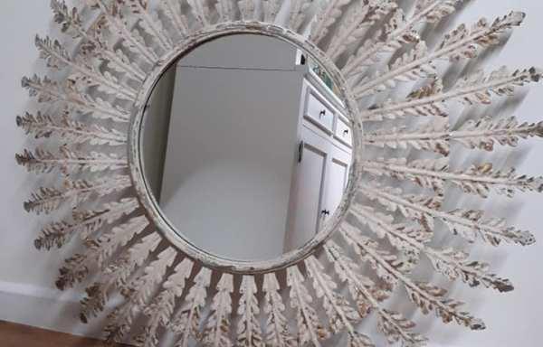 Metal Shabby Chic Round Mirror