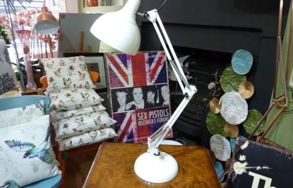 Angle poise desk lamp of white