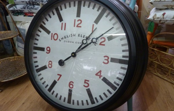 "Black English Electric reproduction wall clock 24"" wide"