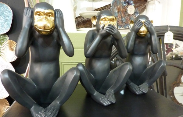 Set of 3 black and gold monkeys