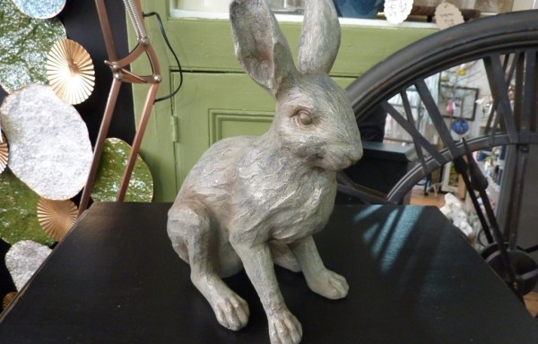 "Grey Resin Rabbit 11"" Tall"