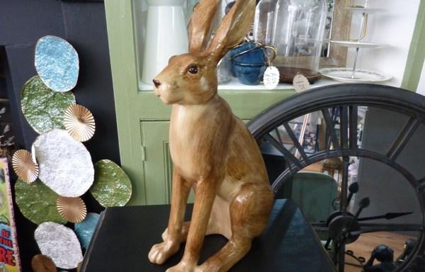 "Wooden Look Sitting Rabbit 22"" Tall"