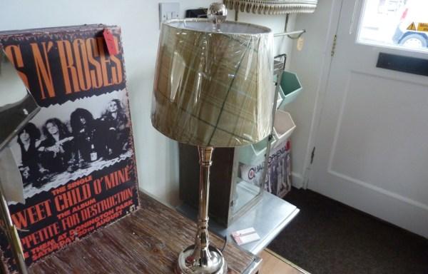 "Nickel tartan shade lamp 26"" tall £70"