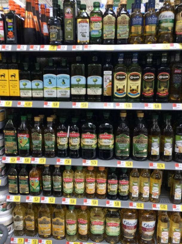 Varieties of Olive Oil at the Grocery Store