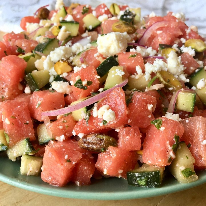Watermlon Salad with Cucumber, Feta and Pistachios