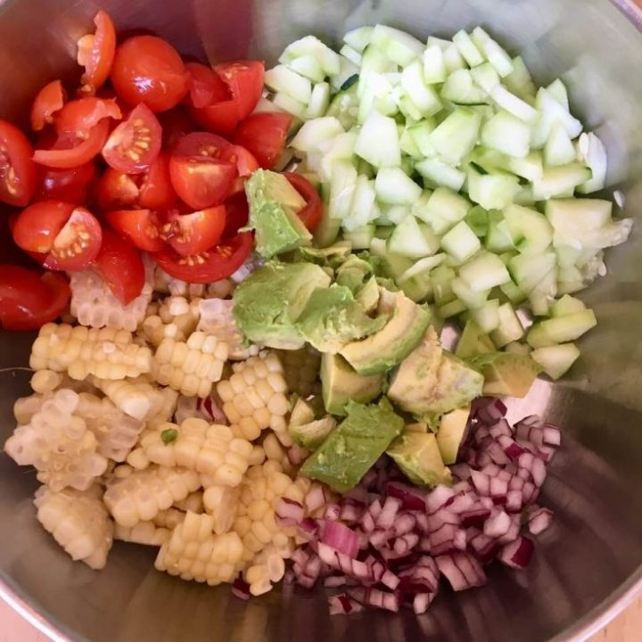 Corn Avocado and Tomato Salad Prep