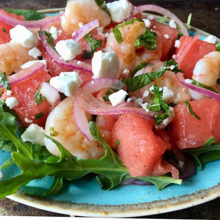 Shrimp, Watermelon and Feta Salad