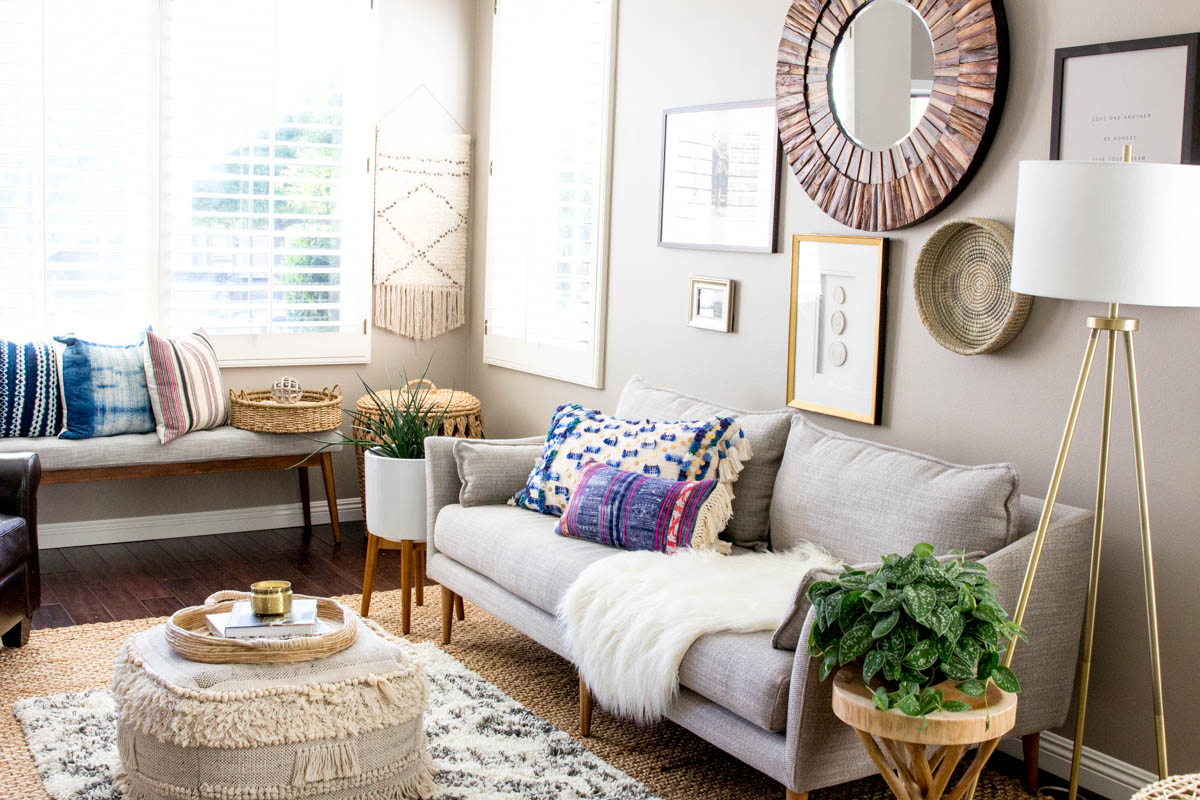 Light and Bright Boho Modern Living Room