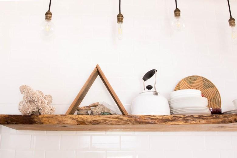 desert inspired shelf gypsum rosettes triangle shelf hanging lights