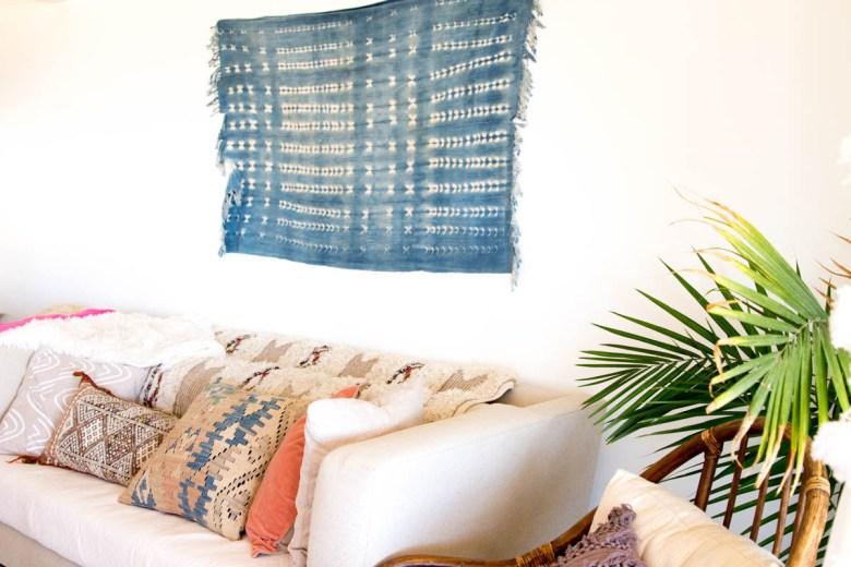 indigo shibori living room casa joshua tree