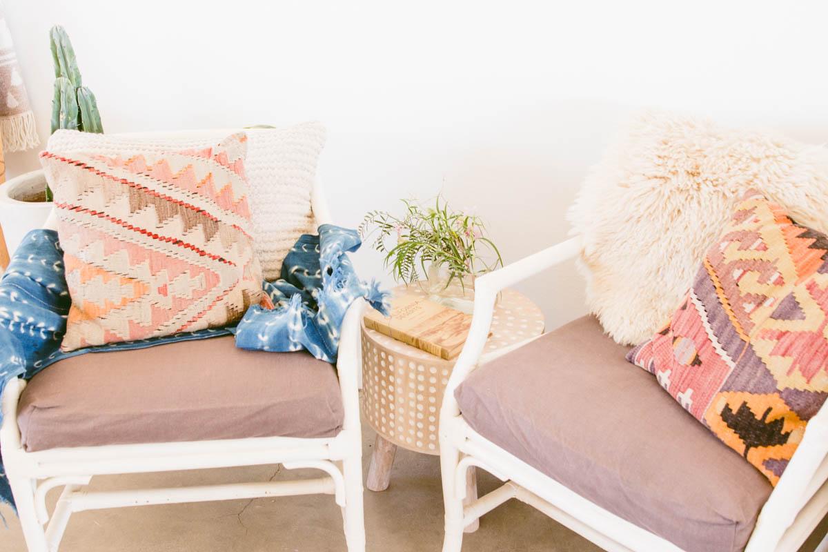 two sitting chairs boho charm indigo desert pillows