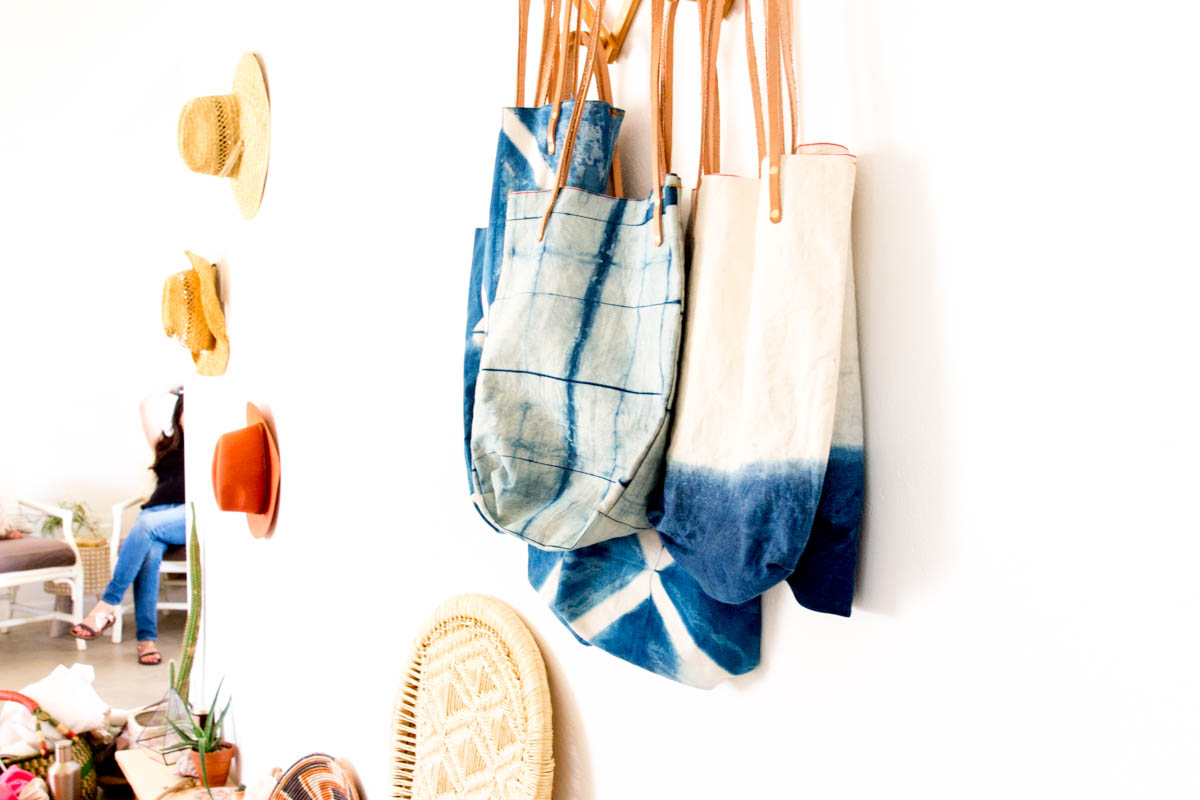 Desert inspired wall hooks shibori dye tote bags hats