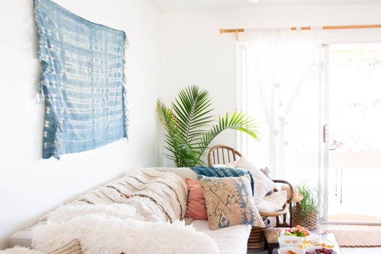 boho indigo wall hang living room desert look