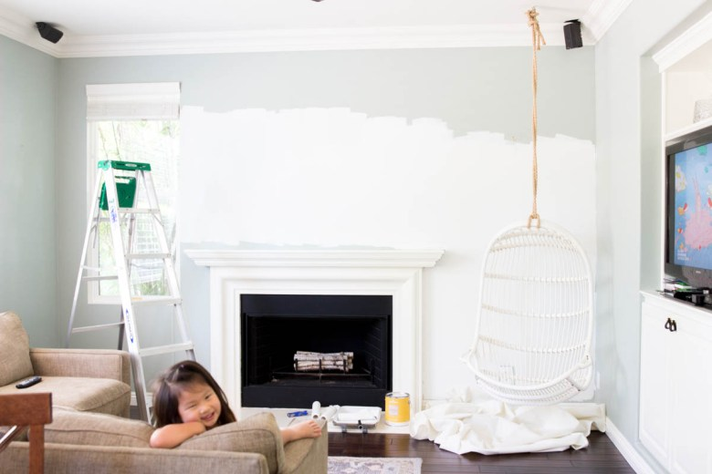 family room white paint hanging chair