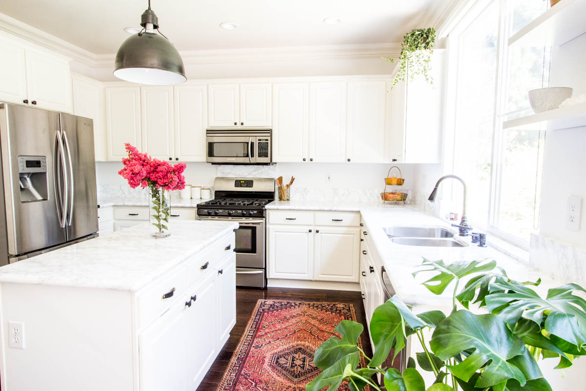 white kitchen faux marble contact paper countertops