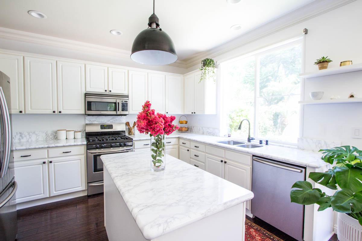 White Kitchen Moen Faucet Faux Marble Contact Paper