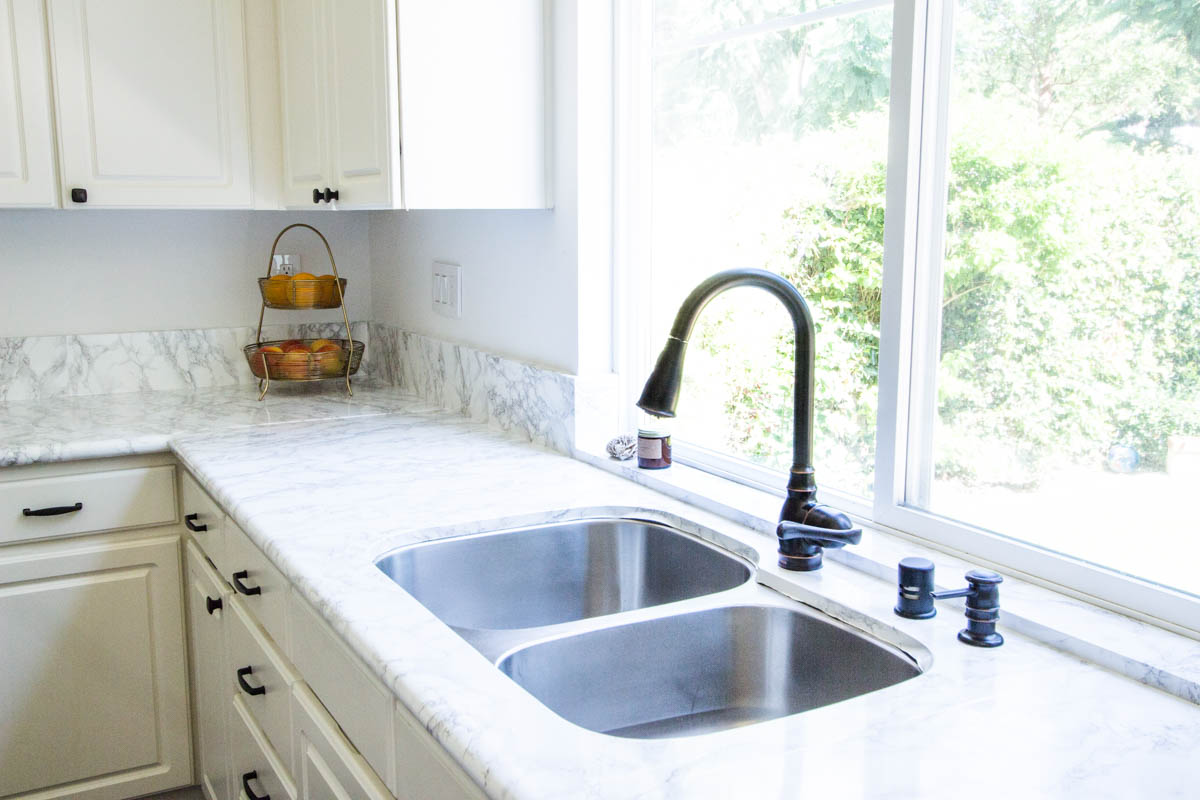 kitchen sink faux marble contact paper