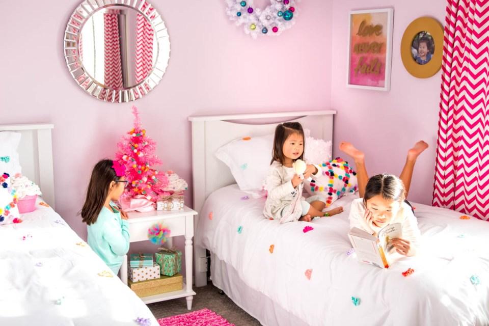 girls bedroom land of nod target chevron pink