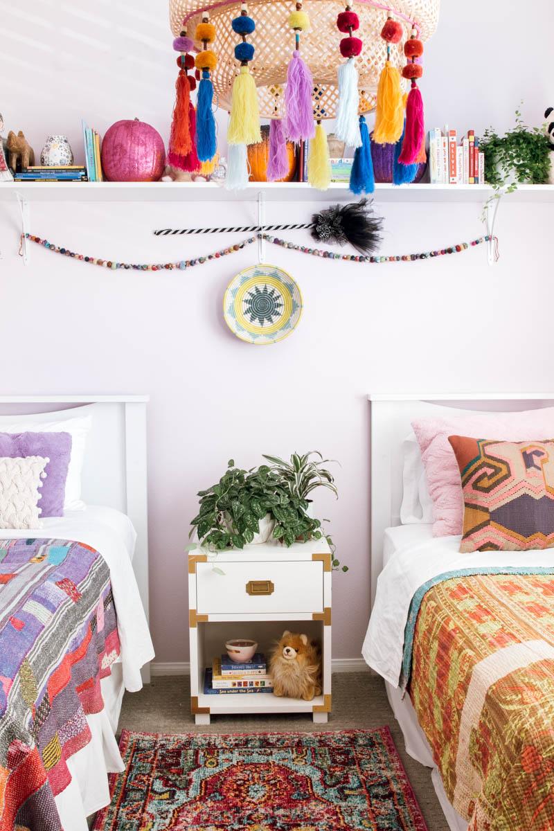 boho girls' bedroom hanging IKEA lamp tassels PB kids campaign nightstand DIY glitter pumpkin kantha quilt