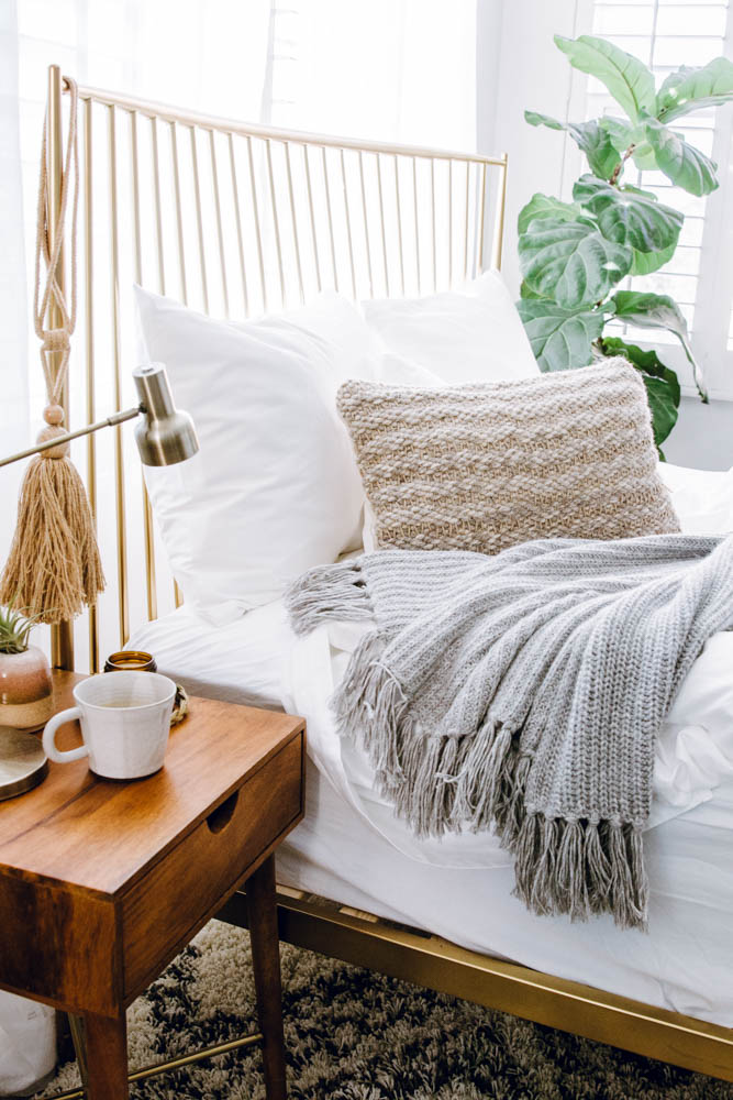 eclectic boho modern target mid mod night stand west elm brass bed parachute home grey alpaca throw jenni kayne