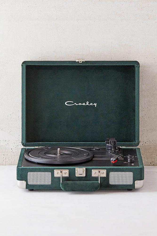 crosley green velvet record player