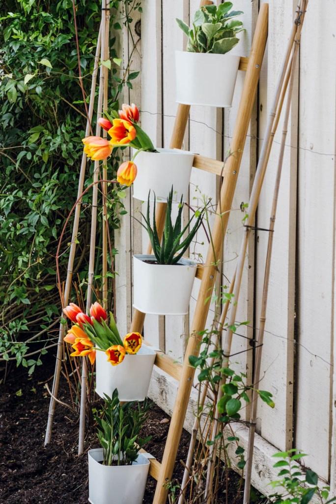 ikea vertical ladder planters